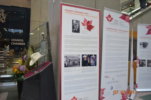 CJE Exhibit has been hosted at Calgary City Hall during the Calgary Stampede. In the photo the Smithbilt Calgary special panel and the team from the Calgary Jewish Federation that mounted the exhibit and that  made it possible.