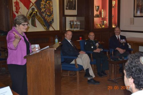 The Westmount Armoury Officers' Mess – Hosted a CJE panel discussion  by distinguished Jewish Canadian Armed Forces Veterans: Three soldiers:150 years in uniform, Canadian Jews in the military Honorary Colonel David Hart, MM, CDMajor-General (retired) Edward Fitch, OMM, MSM, CDLieutenant-Colonel (retired) Dr. Markus Martin, CD, MDCMwith, Moderator: Honorary Lieutenant-Colonel Richard Garber, CDOpening by Prof. Yoby Morantz, CJE Board Member